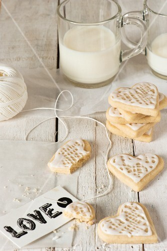 Heart shaped shortbread with a Love tag and milk