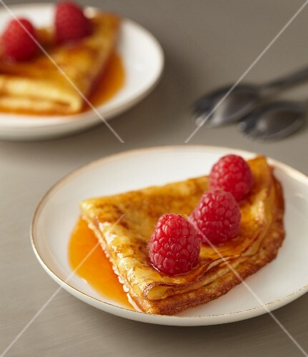 Crepe Suzette with fresh raspberries