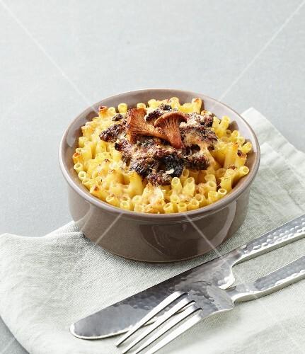 Macaroni cheese with a mushroom and morel sauce