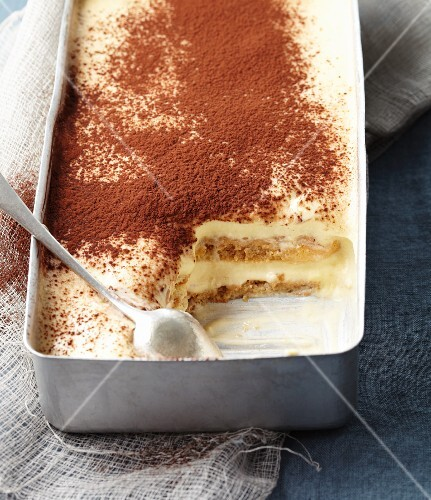 Tiramisu in a metal dish