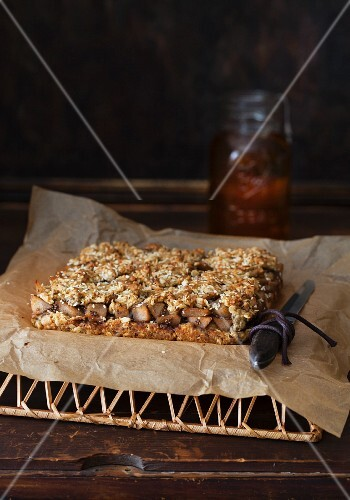 Sesame Oat Bars with Pear Compote