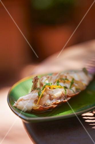 Grilled langoustine (close-up)