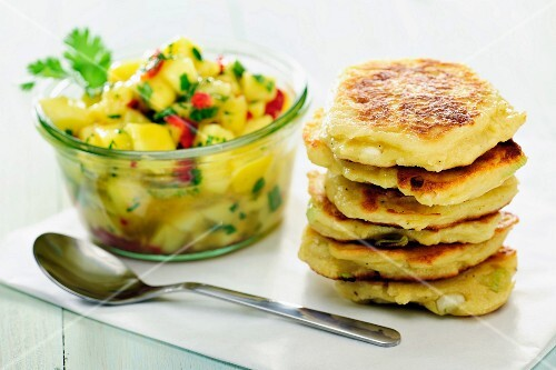 Quark and spring onion pancakes with mango chutney