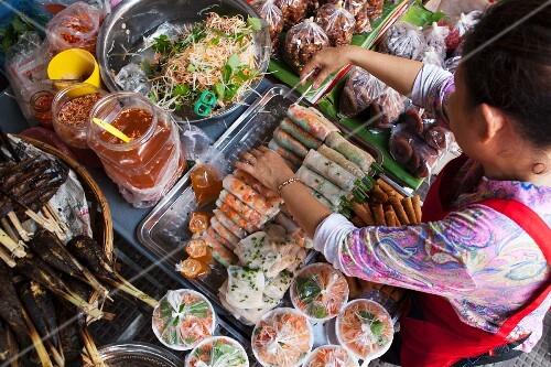 Spring rolls on a market stall (Phnom Penh, Cambodia)