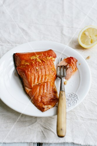 Smoked salmon fillet on a plate