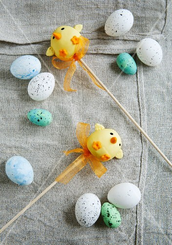 Easter chick cake pops and chocolate eggs