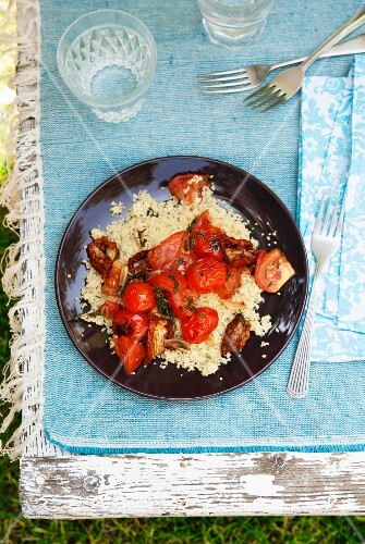 Couscous with three kinds of tomato