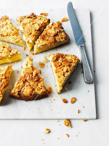 Toscatarta (Swedish almond cake), cut into slices