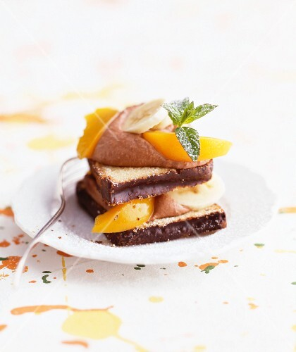 Sweet sandwich with chocolate mousse