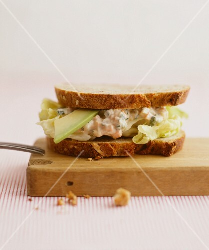 Sandwich with avocado and egg salad