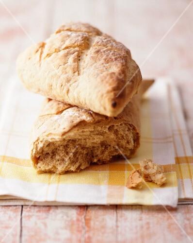 Chunks of a rustic baguette