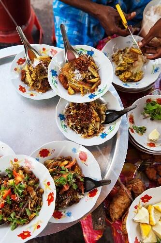 Street food with samosas in Burma