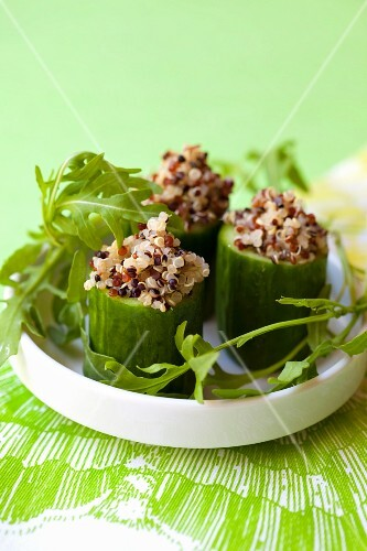 Cucumbers stuffed with colourful quinoa