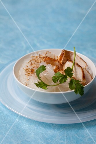 Vermicelli with chicken breast and toasted sesame seeds