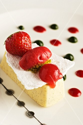 Vanilla parfait with strawberry sorbet