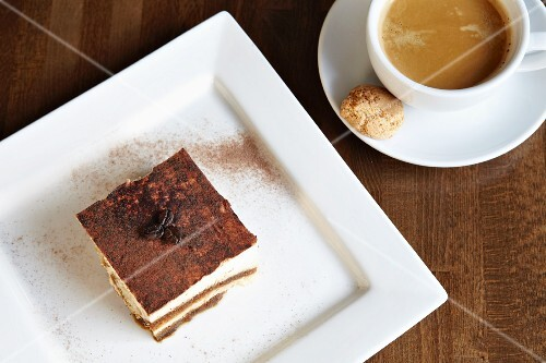 Tiramisu with coffee and amaretti