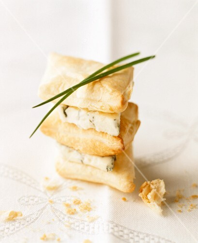 A stack of puff pastry parcels and blue cheese