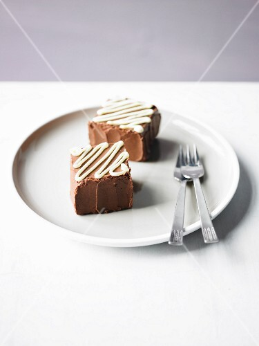 Cubes of cake with chocolate buttercream