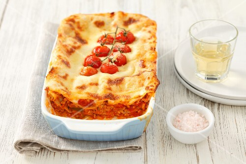 Lasagne with minced meat and cherry tomatoes