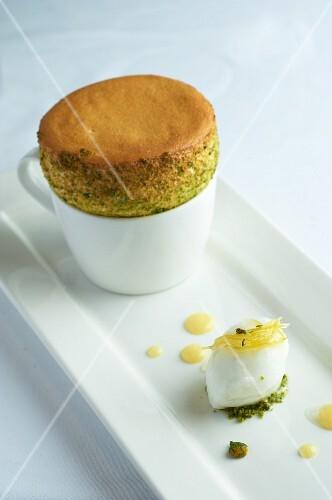 Lemon soufflé and lemon ice cream