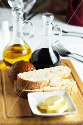 Balsamic vinegar, olive oil, bread and butter