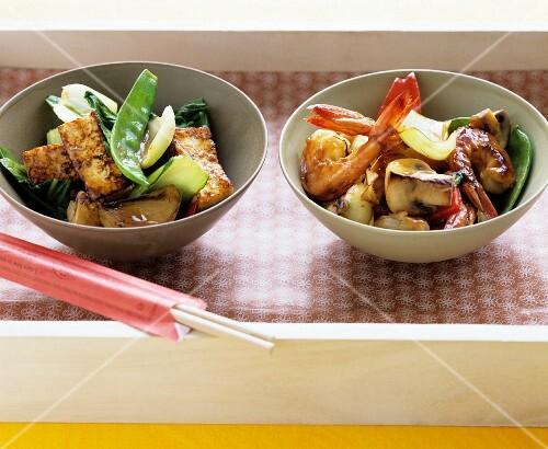 Tofu stir-fry and Shrimp stir-fry