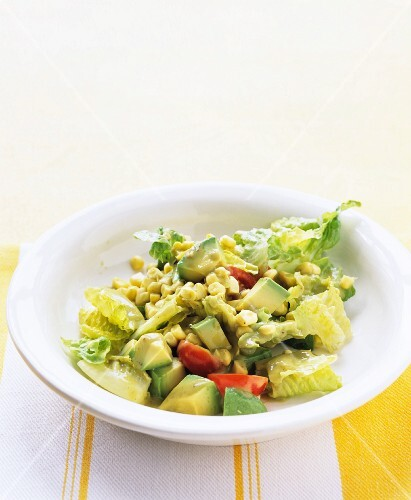 Romaine, avocado and corn salad