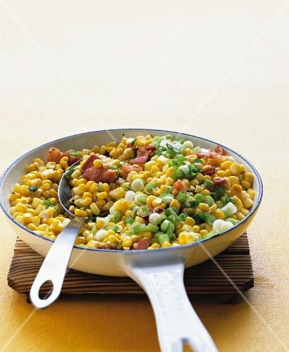 Sauteed corn, bacon and scallions