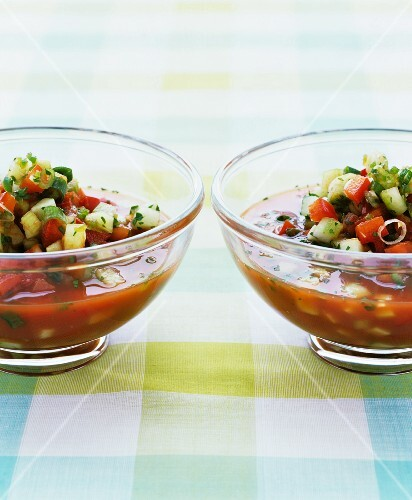 Gazpacho with tomatoes and cucumber