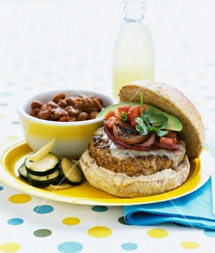 Turkey-pork burger with baked beans