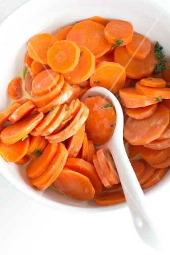 Cooked carrots with orange juice