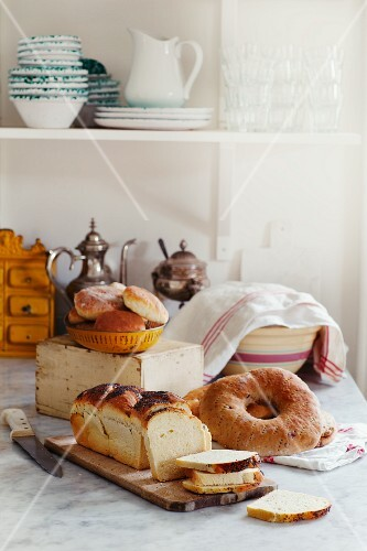Various baked goods on a marble table