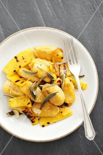 Squash gnocchi with butter, sage and grilled squash