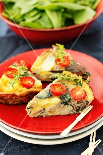 Spanish omelette with aubergines and cherry tomatoes