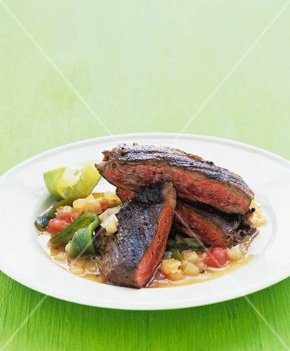 Beef steak with vegetable ragout