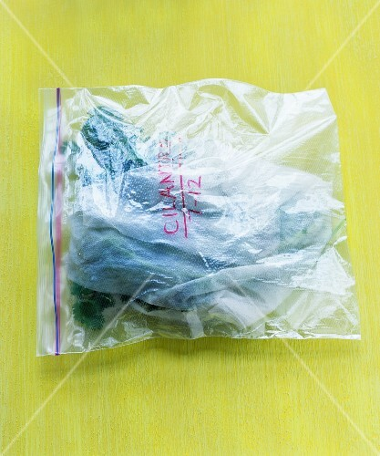 Coriander in a freezer bag
