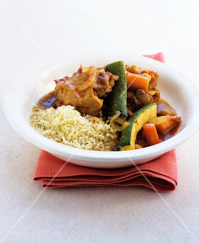 Chicken and vegetable tagine with couscous