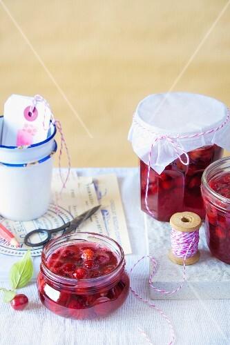 Cornelian cherries in preserving jars