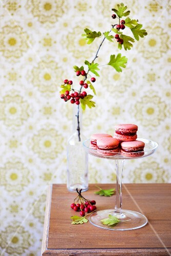 Pink macaroons with hawthorn berry filling on a glass cake stand
