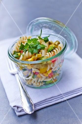 Pasta salad in a storage jar