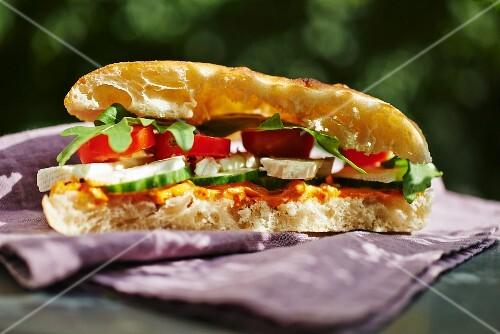 Feta, tomato and cucumber sandwich