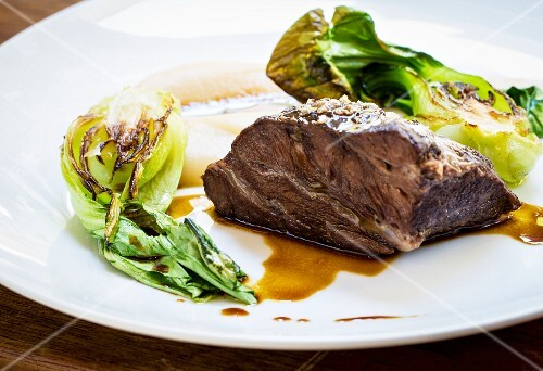 Beef cheek with pak choi and celery puree