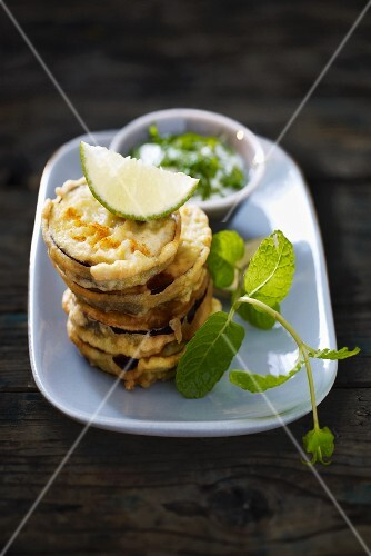 Aubergine fritters with mint sauce
