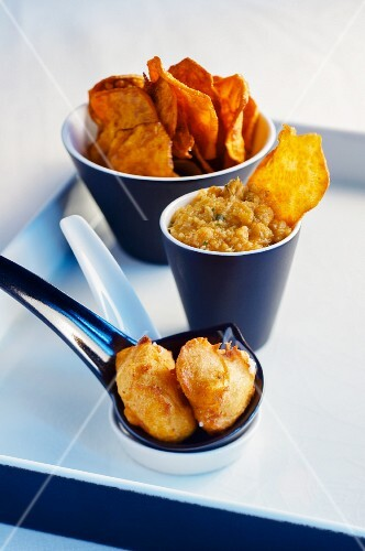 Sweet potato dip and sweet potato chips