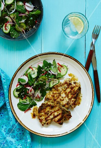 Chermoula chicken with quinoa and parsley salad and radishes (Morocco)