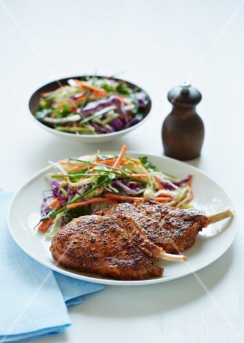 Pork chops with cabbage salad