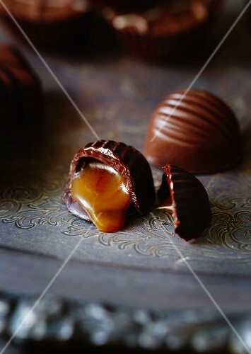 A chocolate filled with salted caramel