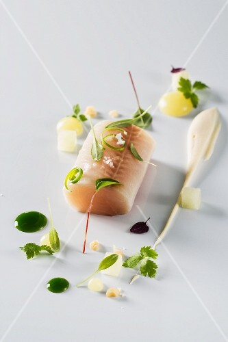 Lightly smoked trout with celery purre apple cubes and parsley