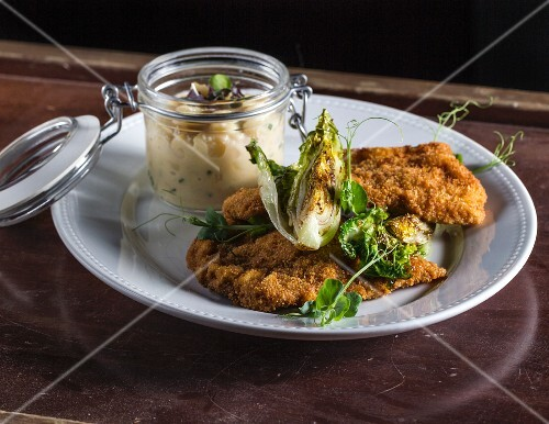 Wiener Schnitzel (breaded veal escalope) with potato salad