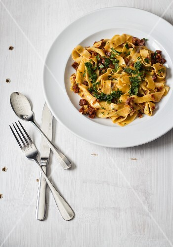 Pappardelle with sausage and parsley